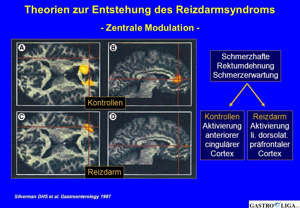 Kontrollen Reizdarm Schmerzhafte Rektumdehnung Schmerzerwartung Reizdarm Aktivierung li. dorsolat. präfrontaler Cortex Kontrollen Aktivierung anterior