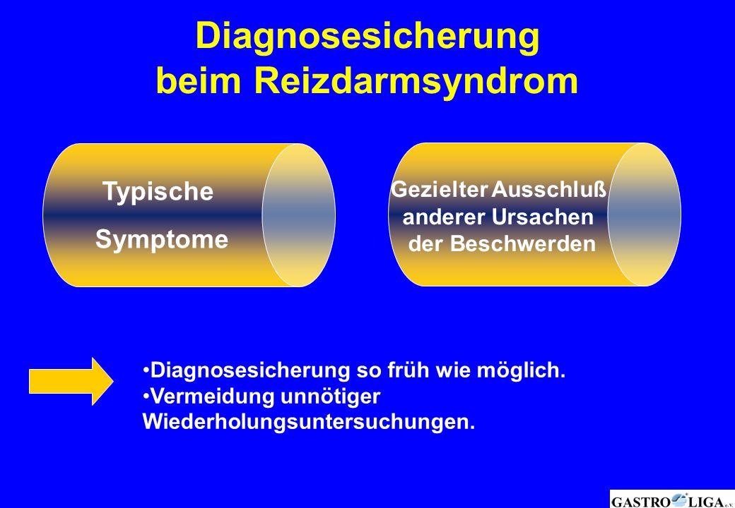 Diagnosesicherung beim Reizdarmsyndrom Diagnosesicherung so früh wie möglich. Vermeidung unnötiger Wiederholungsuntersuchungen. Typische Symptome Gezi