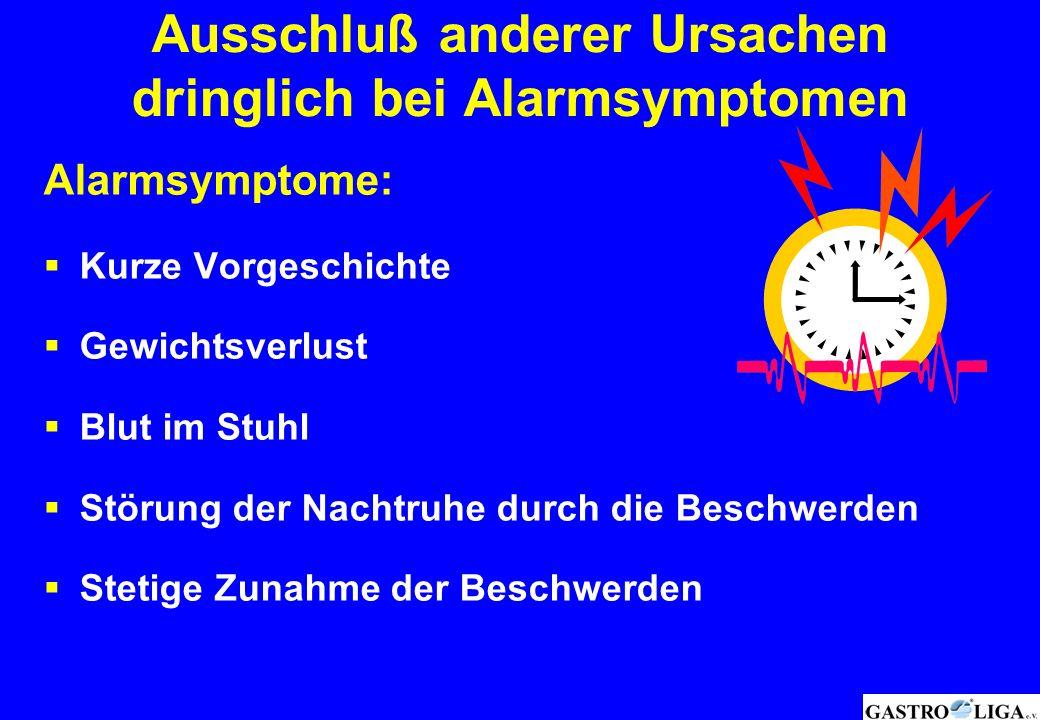 Ausschluß anderer Ursachen dringlich bei Alarmsymptomen Alarmsymptome:  Kurze Vorgeschichte  Gewichtsverlust  Blut im Stuhl  Störung der Nachtruhe