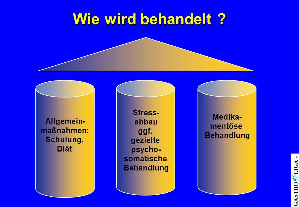 Wie wird behandelt ? Allgemein- maßnahmen: Schulung, Diät Stress- abbau ggf. gezielte psycho- somatische Behandlung Medika- mentöse Behandlung