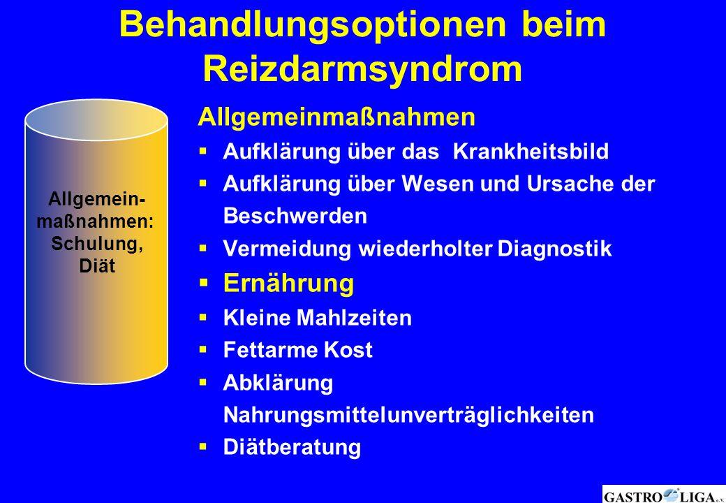 Behandlungsoptionen beim Reizdarmsyndrom Allgemeinmaßnahmen  Aufklärung über das Krankheitsbild  Aufklärung über Wesen und Ursache der Beschwerden 