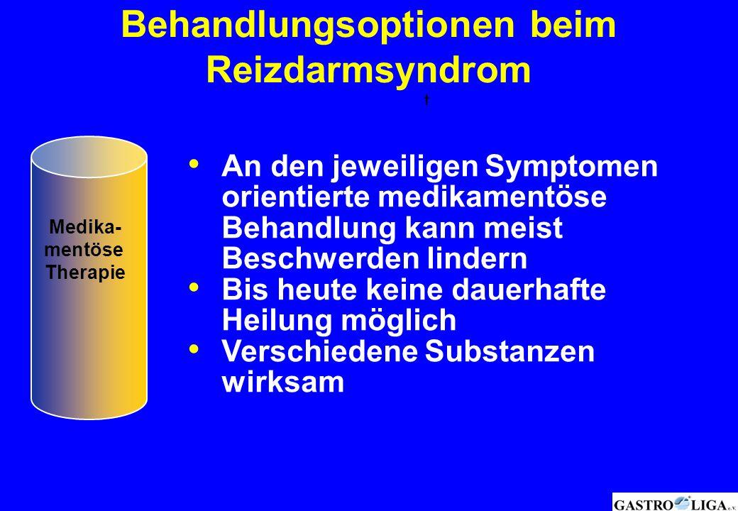 Behandlungsoptionen beim Reizdarmsyndrom † Medika- mentöse Therapie An den jeweiligen Symptomen orientierte medikamentöse Behandlung kann meist Beschw