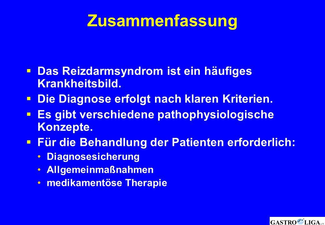 Zusammenfassung  Das Reizdarmsyndrom ist ein häufiges Krankheitsbild.  Die Diagnose erfolgt nach klaren Kriterien.  Es gibt verschiedene pathophysi