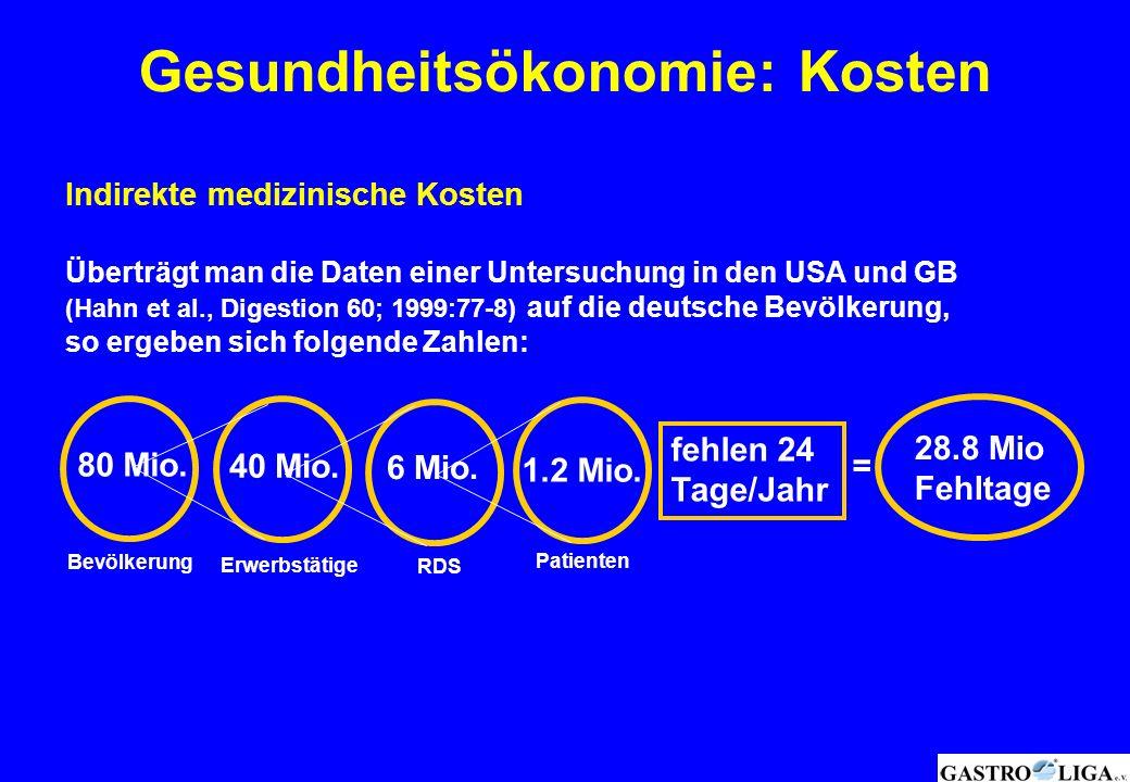 Indirekte medizinische Kosten Überträgt man die Daten einer Untersuchung in den USA und GB (Hahn et al., Digestion 60; 1999:77-8) auf die deutsche Bev