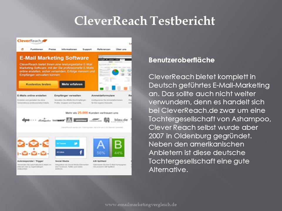 CleverReach Testbericht Benutzeroberfläche CleverReach bietet komplett in Deutsch geführtes E-Mail-Marketing an.