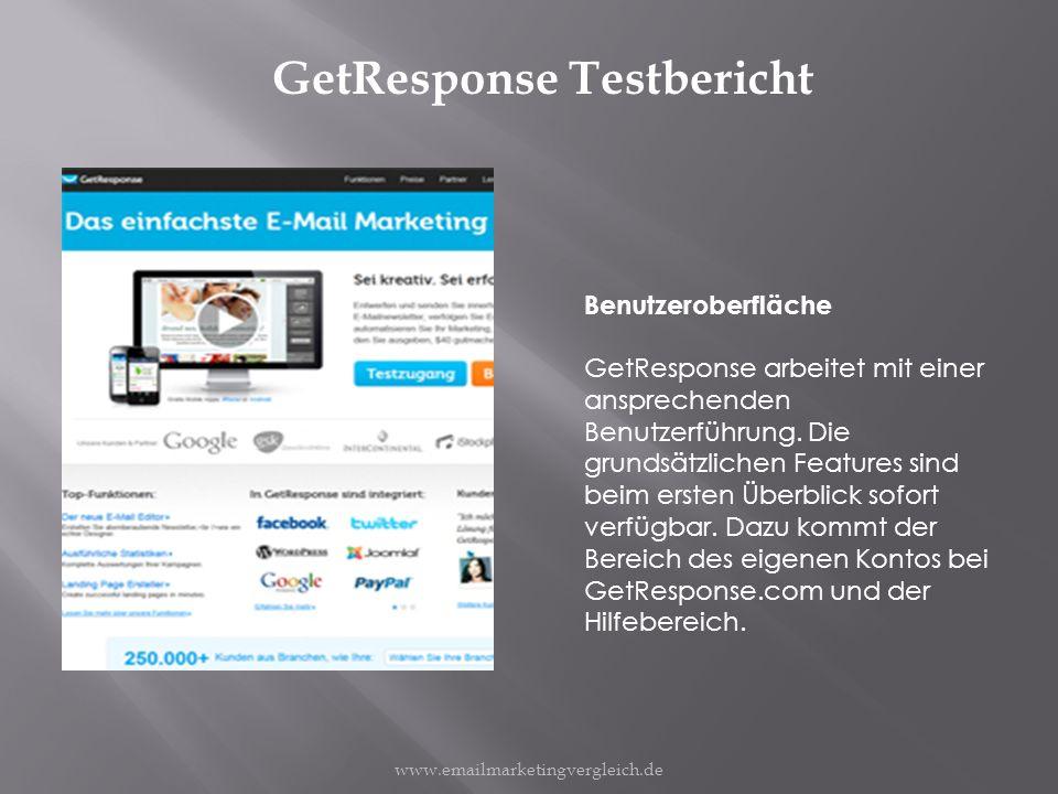 GetResponse Testbericht Benutzeroberfläche GetResponse arbeitet mit einer ansprechenden Benutzerführung.