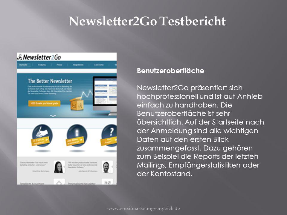 Newsletter2Go Testbericht Benutzeroberfläche Newsletter2Go präsentiert sich hochprofessionell und ist auf Anhieb einfach zu handhaben.