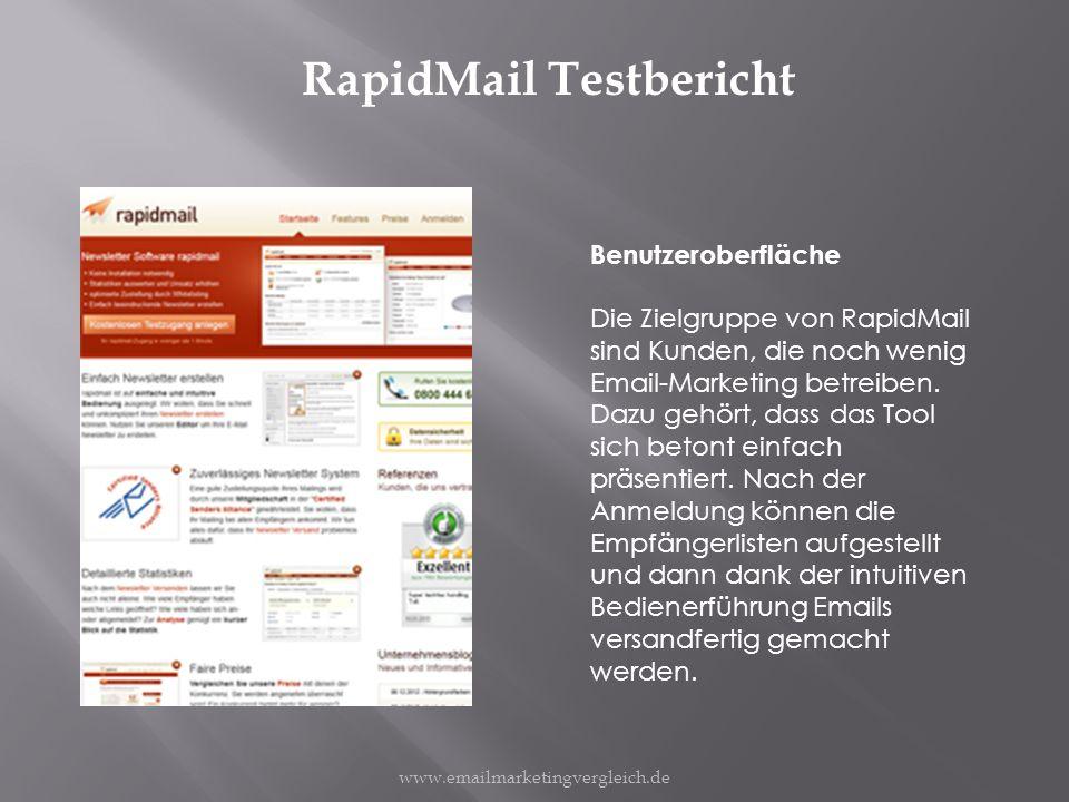 RapidMail Testbericht Benutzeroberfläche Die Zielgruppe von RapidMail sind Kunden, die noch wenig Email-Marketing betreiben.