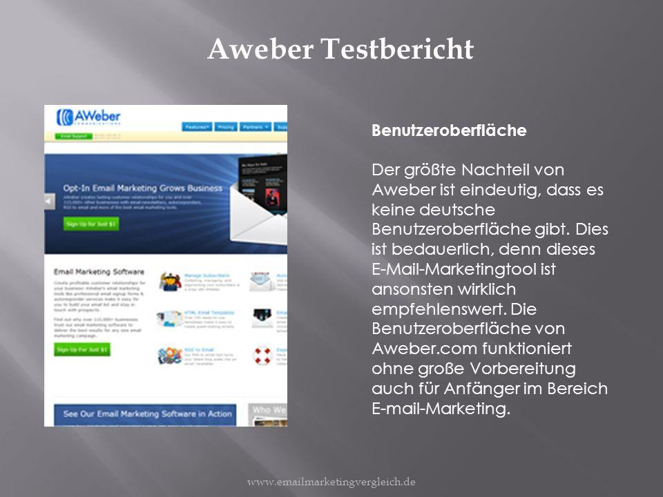 Aweber Testbericht Benutzeroberfläche Der größte Nachteil von Aweber ist eindeutig, dass es keine deutsche Benutzeroberfläche gibt.
