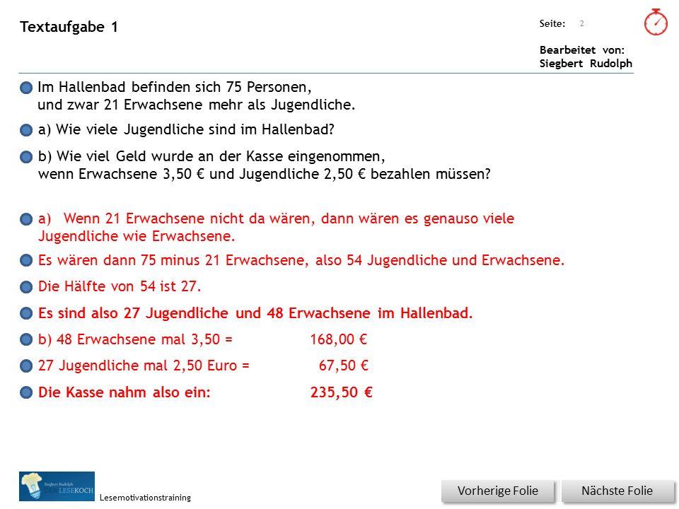 Übungsart: Seite: Bearbeitet von: Siegbert Rudolph Lesemotivationstraining Textaufgabe 2 Das Kleinkinderbecken im Hallenbad ist quadratisch.