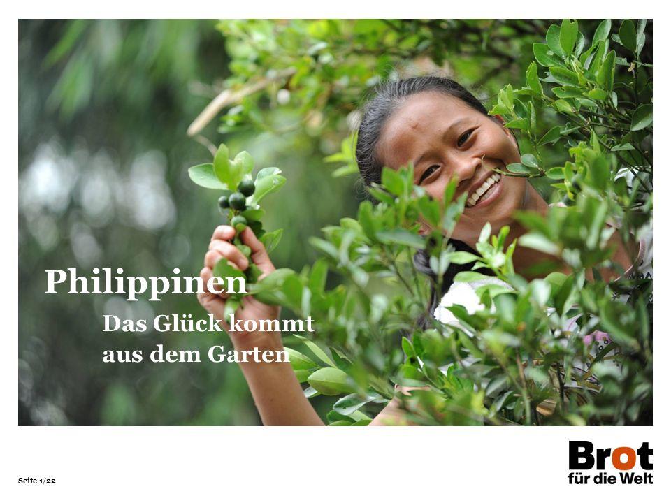Seite 2/22 Philippinen PhilippinenDeutschland Fläche in km²299.764357.121 Bevölkerung in Millionen 10080,5 Bevölkerungsdichte in Einwohner/km²308225 Säuglingssterblichkeit in %1,80,3 Lebenserwartung Männer6978 Frauen7583 Analphabetenrate in % Männer5< 1 Frauen4,2< 1 Bruttoinlandsprodukt in Dollar/Kopf4.70043.742 Quellen: Statistische Ämter des Bundes (2014), CIA World Factbook (2014)