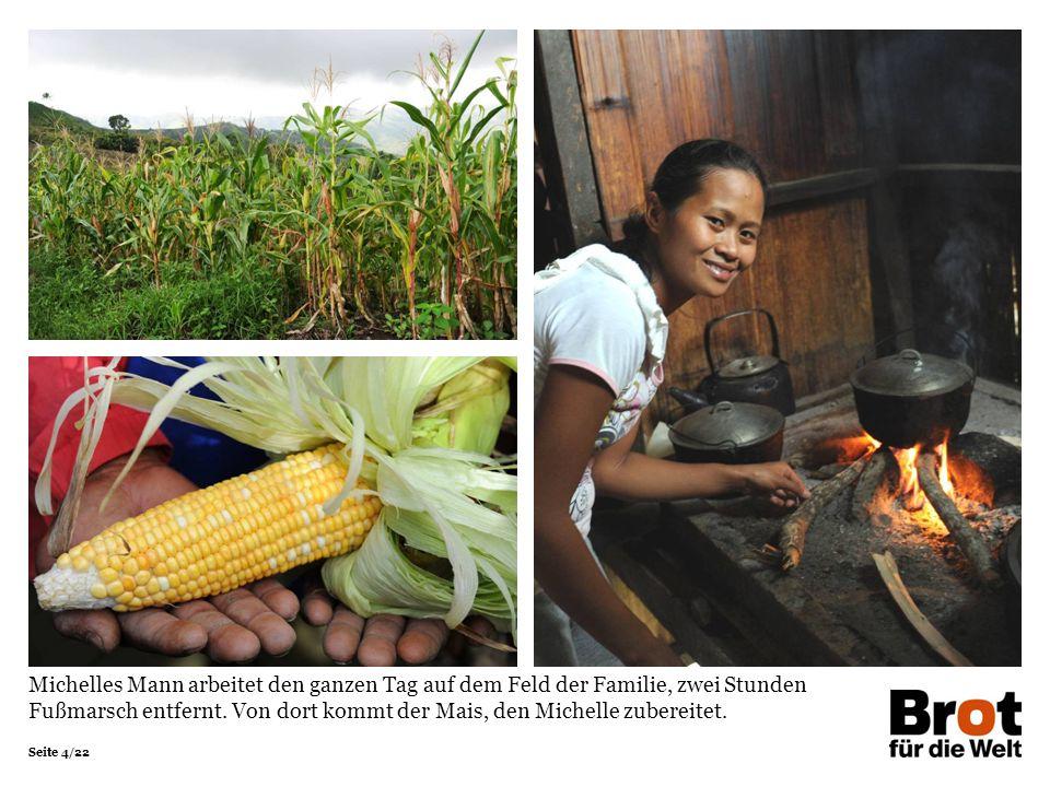 Seite 4/22 Michelles Mann arbeitet den ganzen Tag auf dem Feld der Familie, zwei Stunden Fußmarsch entfernt.