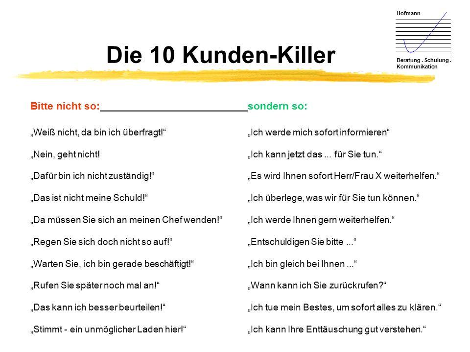 """Hofmann Beratung. Schulung. Kommunikation Die 10 Kunden-Killer Bitte nicht so:sondern so: """"Weiß nicht, da bin ich überfragt!""""""""Ich werde mich sofort in"""