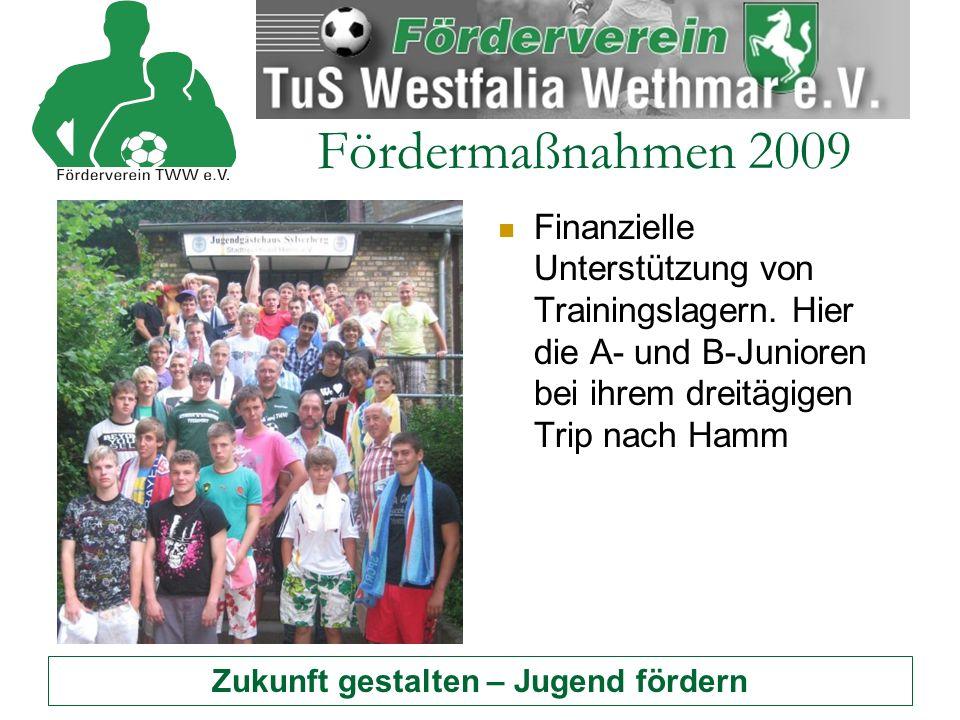 Zukunft gestalten – Jugend fördern Fördermaßnahmen 2009 Finanzielle Unterstützung von Trainingslagern.