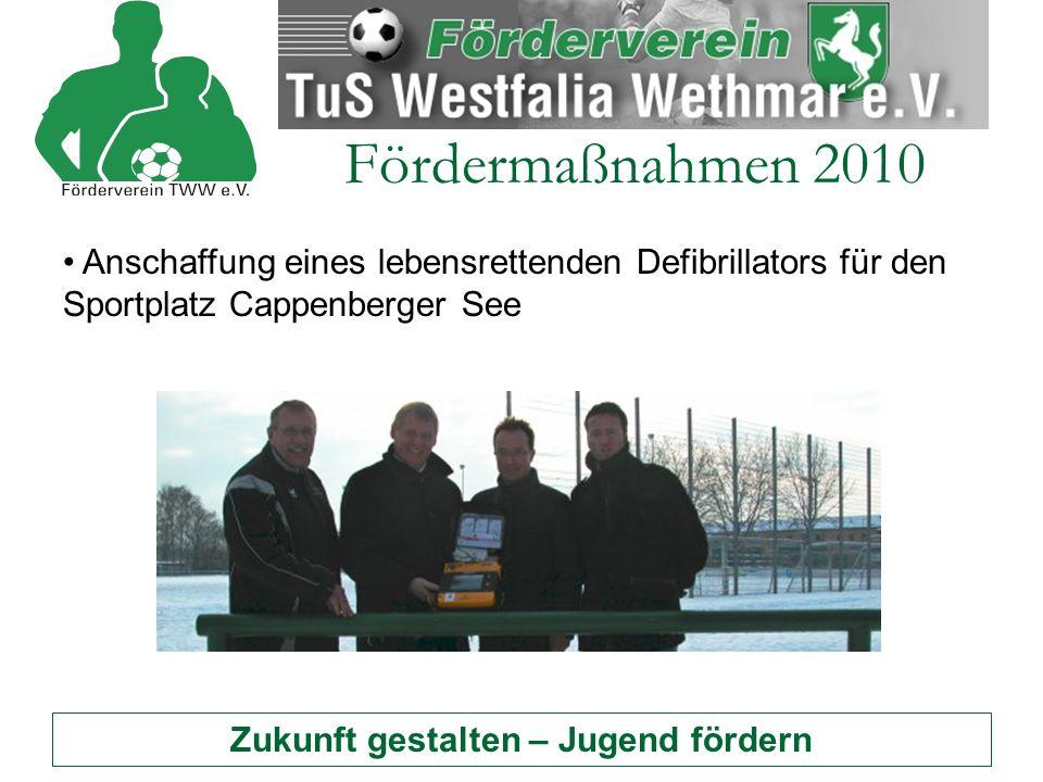 Zukunft gestalten – Jugend fördern Fördermaßnahmen 2010 Anschaffung eines lebensrettenden Defibrillators für den Sportplatz Cappenberger See