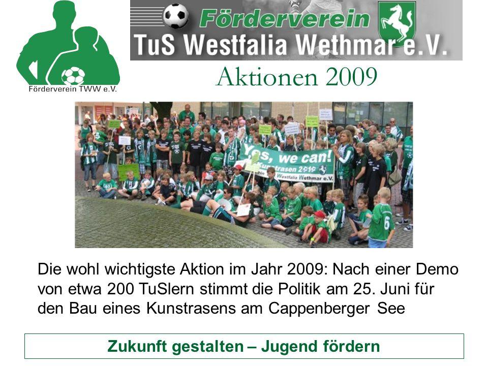 Zukunft gestalten – Jugend fördern Aktionen 2009 Die wohl wichtigste Aktion im Jahr 2009: Nach einer Demo von etwa 200 TuSlern stimmt die Politik am 25.