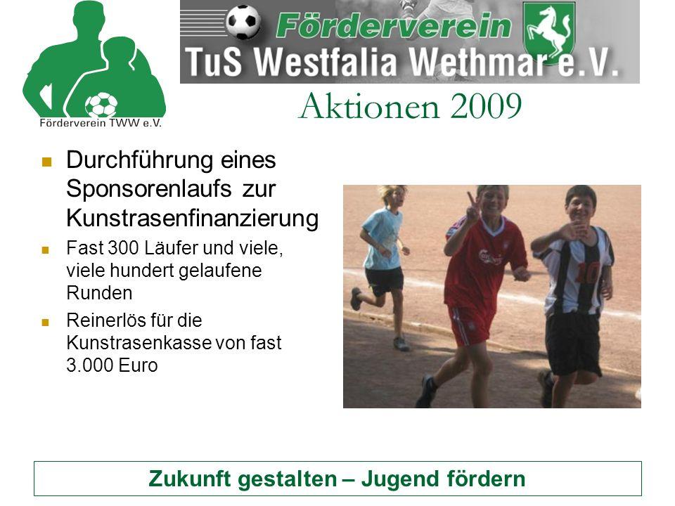 Zukunft gestalten – Jugend fördern Aktionen 2009 Durchführung eines Sponsorenlaufs zur Kunstrasenfinanzierung Fast 300 Läufer und viele, viele hundert gelaufene Runden Reinerlös für die Kunstrasenkasse von fast 3.000 Euro