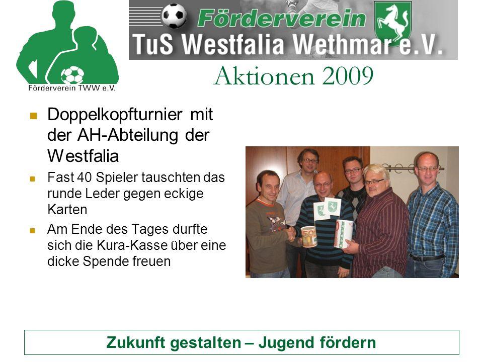 Zukunft gestalten – Jugend fördern Aktionen 2009 Doppelkopfturnier mit der AH-Abteilung der Westfalia Fast 40 Spieler tauschten das runde Leder gegen eckige Karten Am Ende des Tages durfte sich die Kura-Kasse über eine dicke Spende freuen