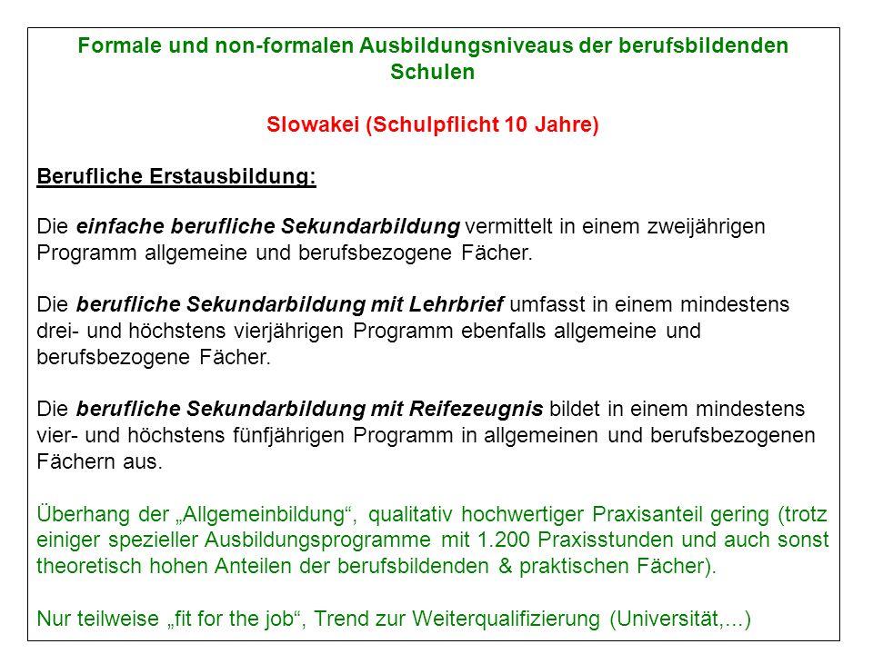 Formale und non-formalen Ausbildungsniveaus der berufsbildenden Schulen Slowakei (Schulpflicht 10 Jahre) Berufliche Erstausbildung: Die einfache berufliche Sekundarbildung vermittelt in einem zweijährigen Programm allgemeine und berufsbezogene Fächer.