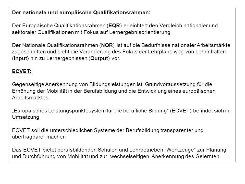 Der nationale und europäische Qualifikationsrahmen: Der Europäische Qualifikationsrahmen (EQR) erleichtert den Vergleich nationaler und sektoraler Qualifikationen mit Fokus auf Lernergebnisorientierung Der Nationale Qualifikationsrahmen (NQR) ist auf die Bedürfnisse nationaler Arbeitsmärkte zugeschnitten und sieht die Veränderung des Fokus der Lehrpläne weg von Lehrinhalten (Input) hin zu Lernergebnissen (Output) vor.