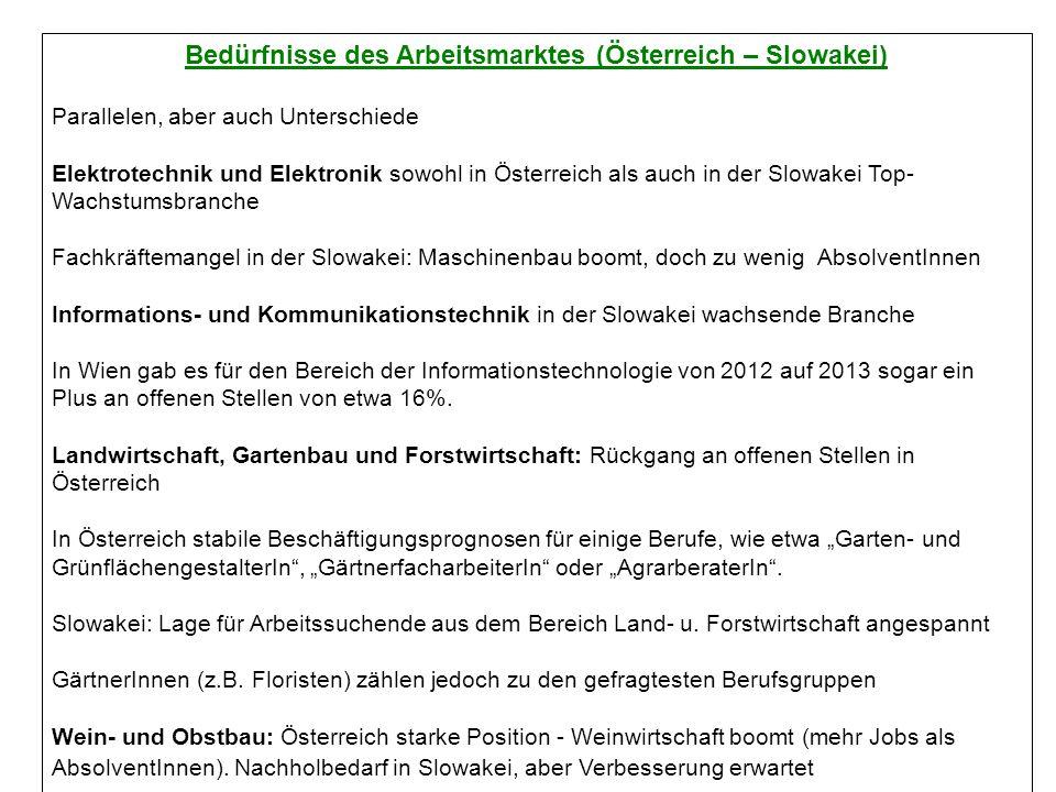 Bedürfnisse des Arbeitsmarktes (Österreich – Slowakei) Parallelen, aber auch Unterschiede Elektrotechnik und Elektronik sowohl in Österreich als auch in der Slowakei Top- Wachstumsbranche Fachkräftemangel in der Slowakei: Maschinenbau boomt, doch zu wenig AbsolventInnen Informations- und Kommunikationstechnik in der Slowakei wachsende Branche In Wien gab es für den Bereich der Informationstechnologie von 2012 auf 2013 sogar ein Plus an offenen Stellen von etwa 16%.