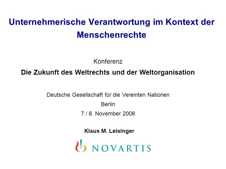 Unternehmerische Verantwortung im Kontext der Menschenrechte Klaus M.