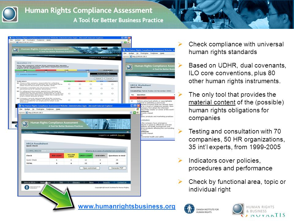  Check compliance with universal human rights standards  Based on UDHR, dual covenants, ILO core conventions, plus 80 other human rights instruments.