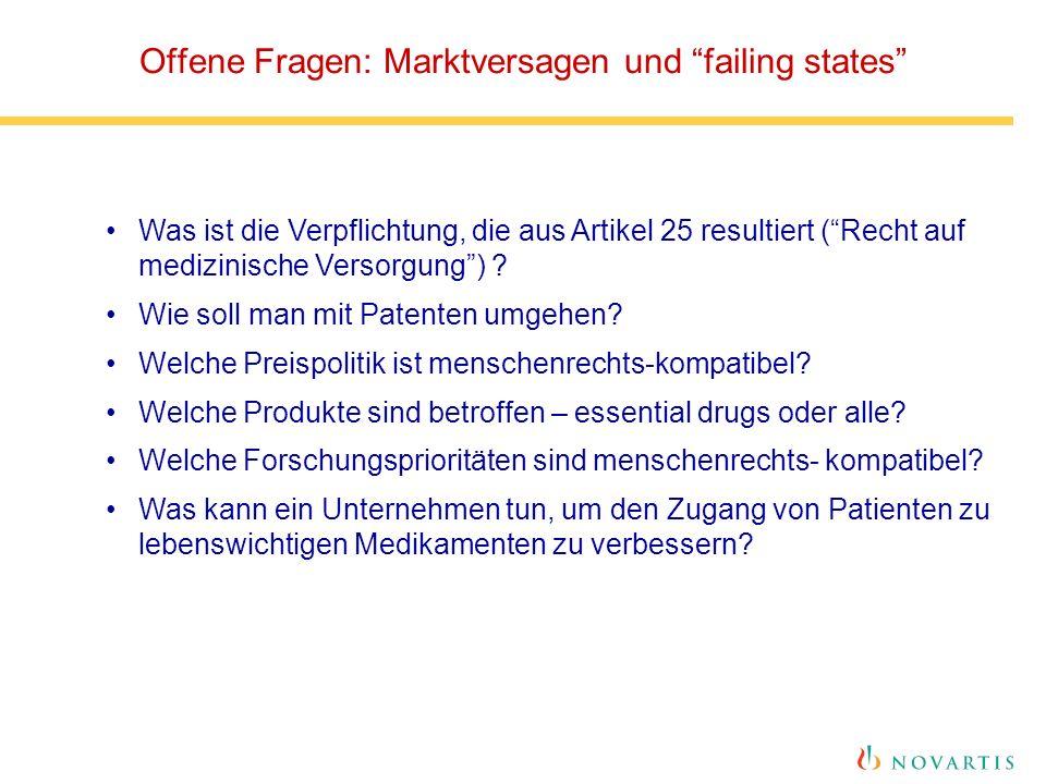 Offene Fragen: Marktversagen und failing states Was ist die Verpflichtung, die aus Artikel 25 resultiert ( Recht auf medizinische Versorgung ) .