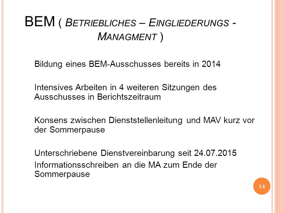 BEM ( B ETRIEBLICHES – E INGLIEDERUNGS - M ANAGMENT ) Bildung eines BEM-Ausschusses bereits in 2014 Intensives Arbeiten in 4 weiteren Sitzungen des Au