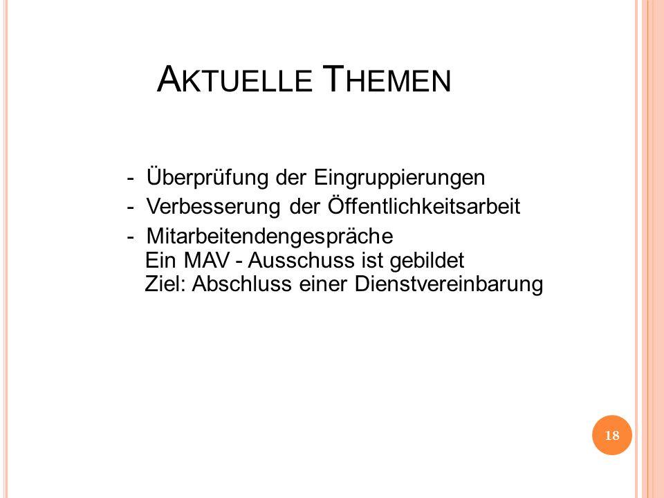 A KTUELLE T HEMEN - Überprüfung der Eingruppierungen - Verbesserung der Öffentlichkeitsarbeit - Mitarbeitendengespräche Ein MAV - Ausschuss ist gebild