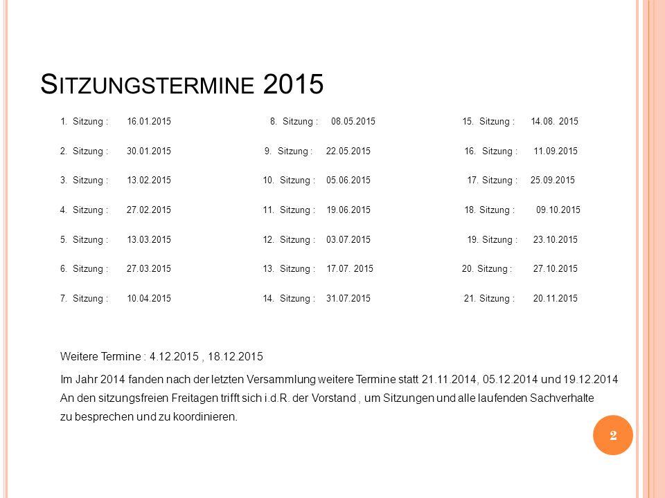S ITZUNGSTERMINE 2015 1. Sitzung :16.01.2015 8. Sitzung : 08.05.2015 15.