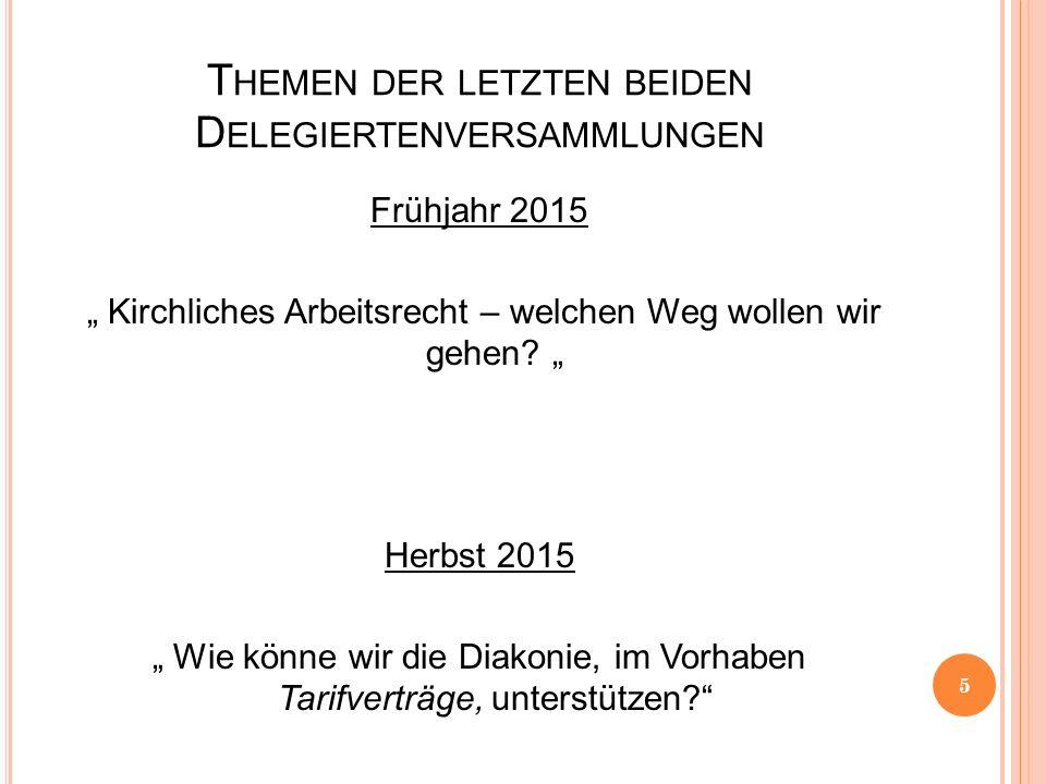"""T HEMEN DER LETZTEN BEIDEN D ELEGIERTENVERSAMMLUNGEN Frühjahr 2015 """" Kirchliches Arbeitsrecht – welchen Weg wollen wir gehen? """" Herbst 2015 """" Wie könn"""