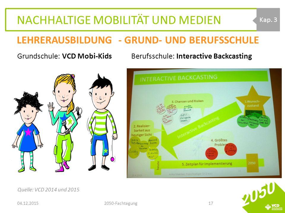 NACHHALTIGE MOBILITÄT UND MEDIEN Grundschule: VCD Mobi-Kids Berufsschule: Interactive Backcasting 04.12.20152050-Fachtagung17 Kap.