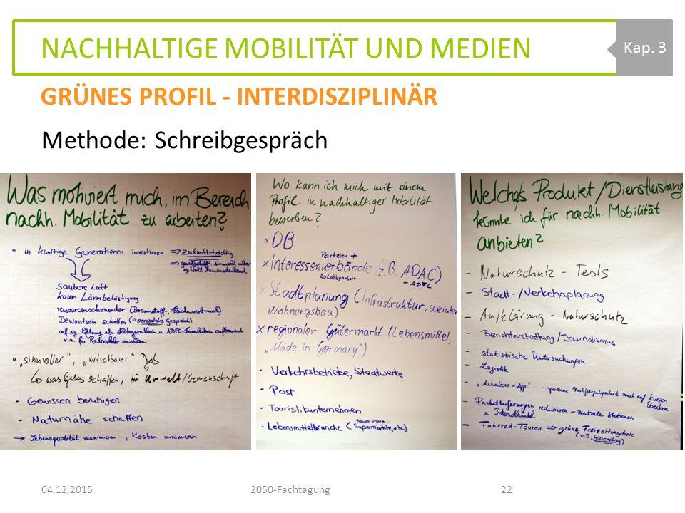 NACHHALTIGE MOBILITÄT UND MEDIEN 04.12.20152050-Fachtagung22 Kap.