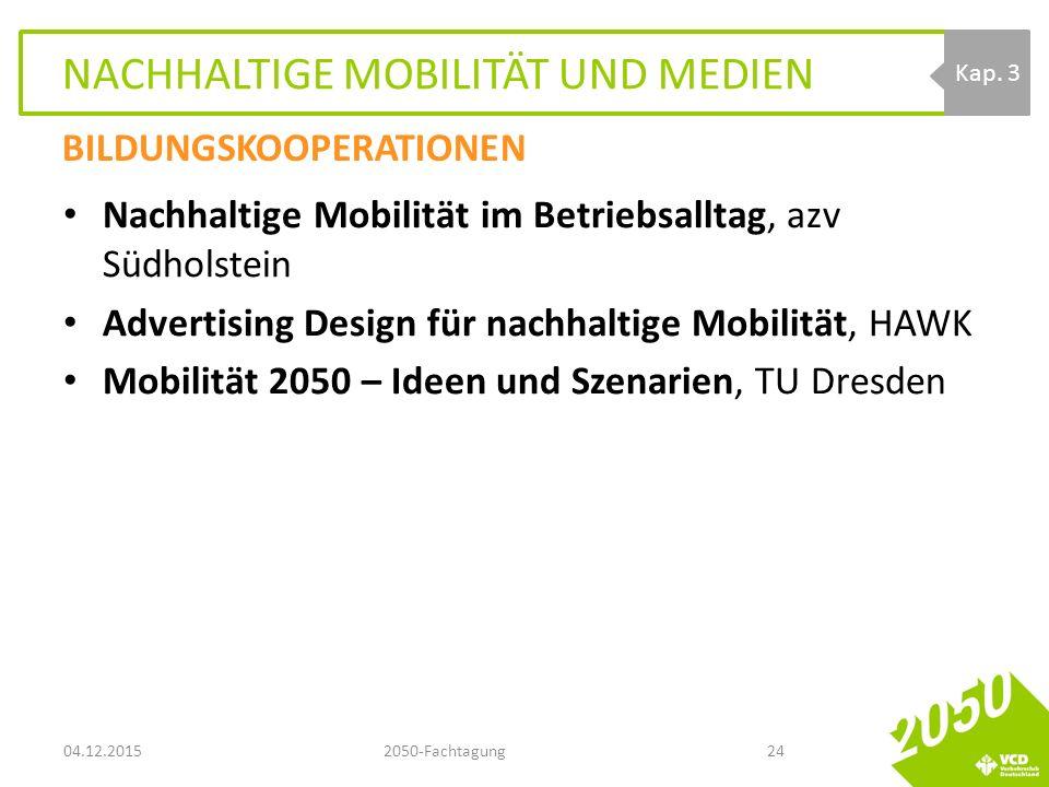 NACHHALTIGE MOBILITÄT UND MEDIEN Nachhaltige Mobilität im Betriebsalltag, azv Südholstein Advertising Design für nachhaltige Mobilität, HAWK Mobilität 2050 – Ideen und Szenarien, TU Dresden 04.12.20152050-Fachtagung24 Kap.
