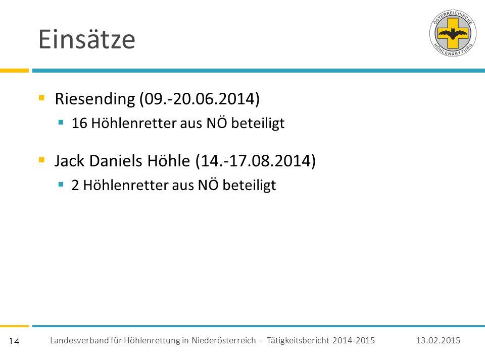 14 Einsätze  Riesending (09.-20.06.2014)  16 Höhlenretter aus NÖ beteiligt  Jack Daniels Höhle (14.-17.08.2014)  2 Höhlenretter aus NÖ beteiligt 13.02.2015 Landesverband für Höhlenrettung in Niederösterreich - Tätigkeitsbericht 2014-2015