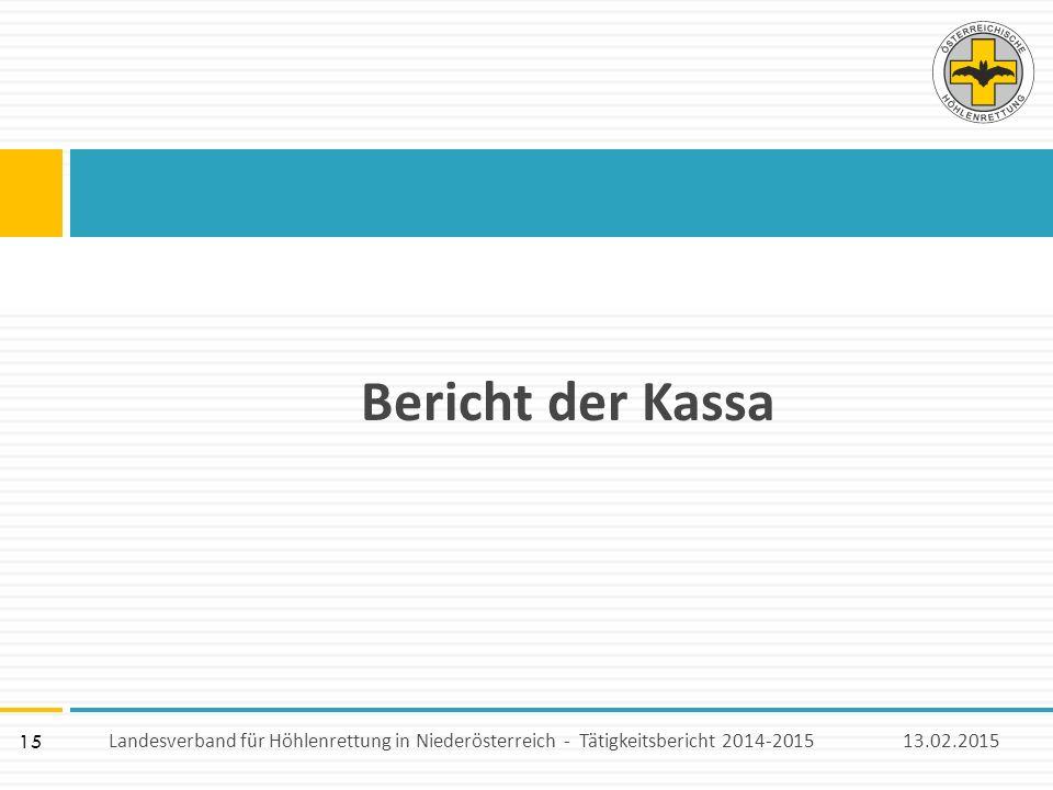 15 Bericht der Kassa 13.02.2015Landesverband für Höhlenrettung in Niederösterreich - Tätigkeitsbericht 2014-2015