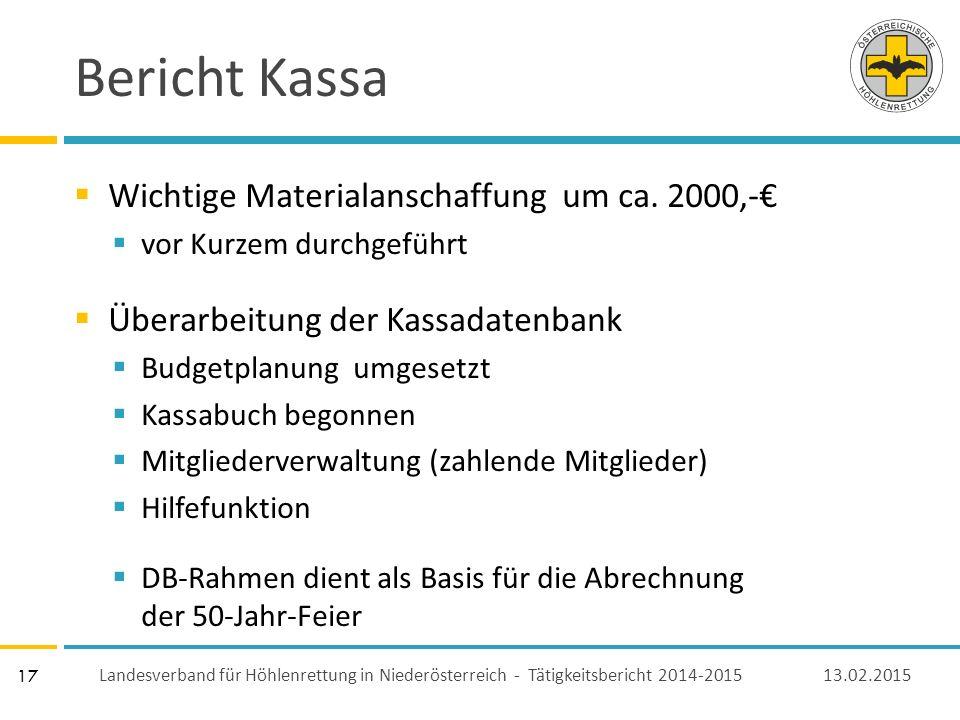 17 Bericht Kassa  Wichtige Materialanschaffung um ca.