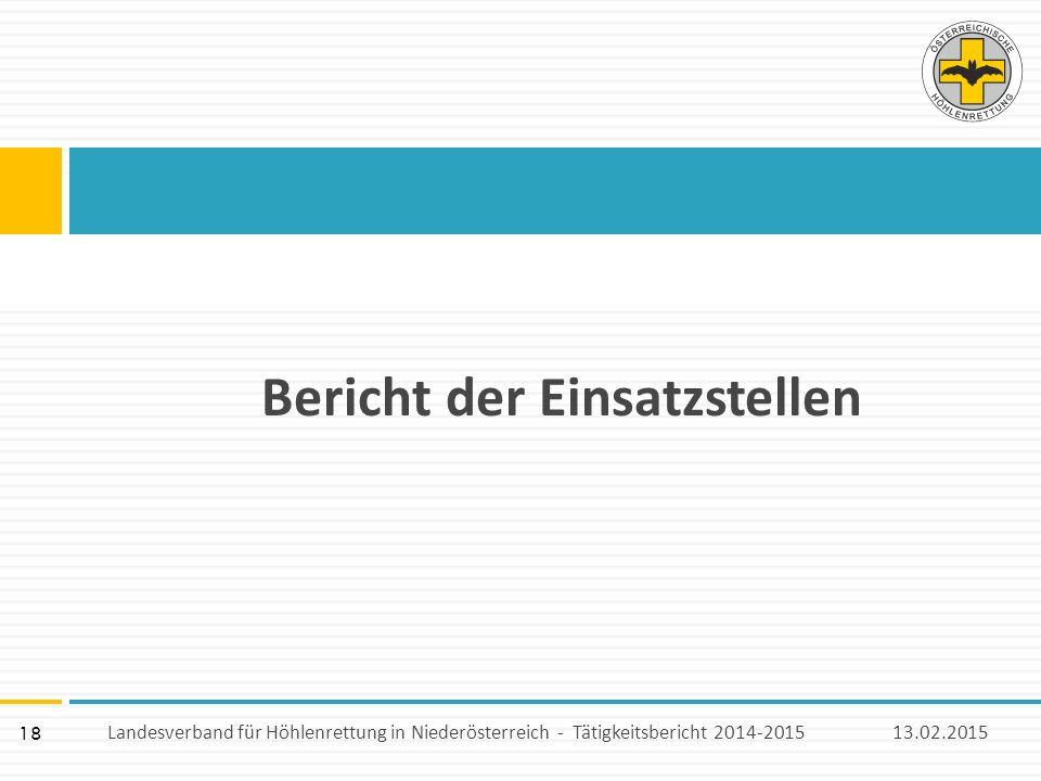 18 Bericht der Einsatzstellen 13.02.2015Landesverband für Höhlenrettung in Niederösterreich - Tätigkeitsbericht 2014-2015