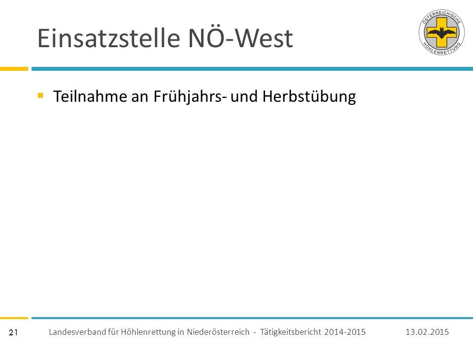 21 Einsatzstelle NÖ-West  Teilnahme an Frühjahrs- und Herbstübung 13.02.2015 Landesverband für Höhlenrettung in Niederösterreich - Tätigkeitsbericht 2014-2015