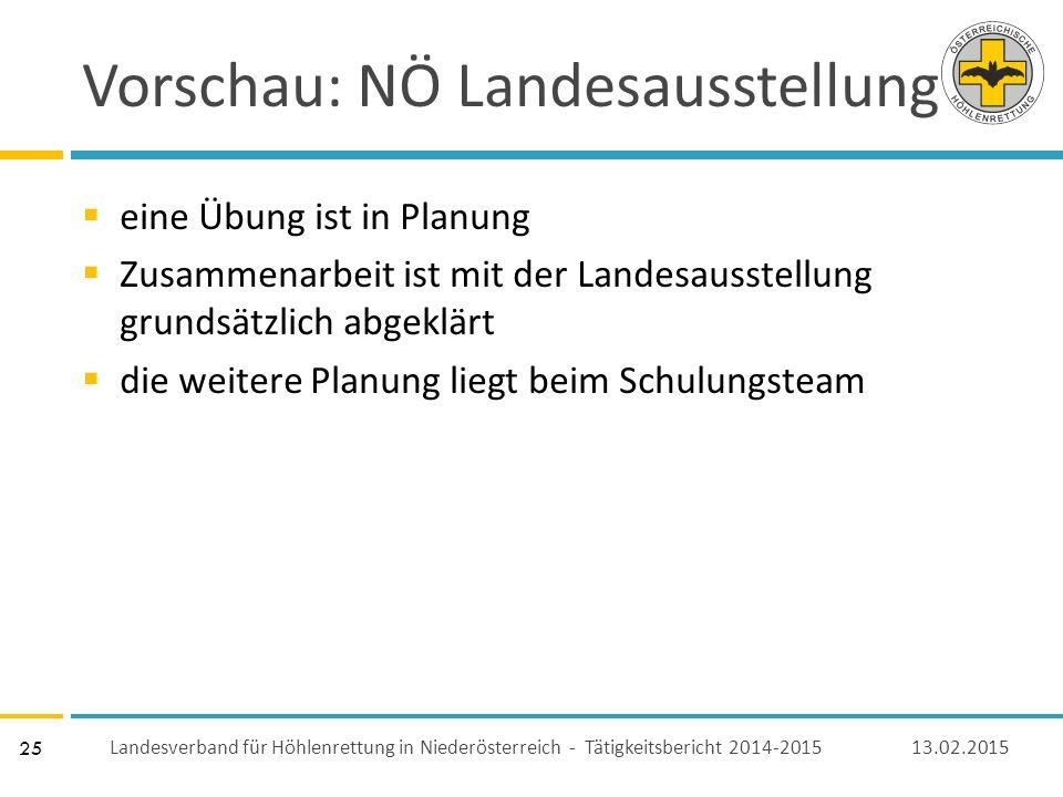 25 Vorschau: NÖ Landesausstellung  eine Übung ist in Planung  Zusammenarbeit ist mit der Landesausstellung grundsätzlich abgeklärt  die weitere Planung liegt beim Schulungsteam 13.02.2015 Landesverband für Höhlenrettung in Niederösterreich - Tätigkeitsbericht 2014-2015
