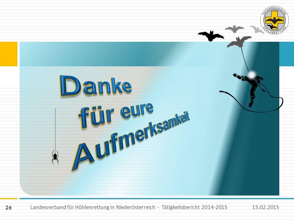 26 13.02.2015Landesverband für Höhlenrettung in Niederösterreich - Tätigkeitsbericht 2014-2015