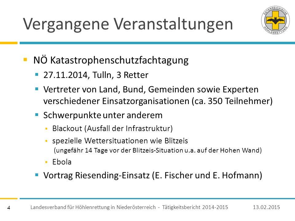 4 Vergangene Veranstaltungen  NÖ Katastrophenschutzfachtagung  27.11.2014, Tulln, 3 Retter  Vertreter von Land, Bund, Gemeinden sowie Experten verschiedener Einsatzorganisationen (ca.