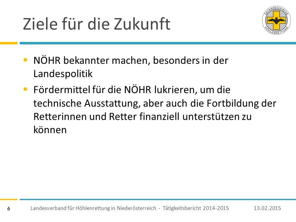 6 Ziele für die Zukunft  NÖHR bekannter machen, besonders in der Landespolitik  Fördermittel für die NÖHR lukrieren, um die technische Ausstattung, aber auch die Fortbildung der Retterinnen und Retter finanziell unterstützen zu können 13.02.2015 Landesverband für Höhlenrettung in Niederösterreich - Tätigkeitsbericht 2014-2015