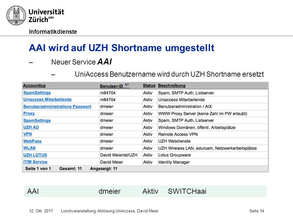 Informatikdienste 12. Okt. 2011Lunchveranstaltung Ablösung UniAccess, David MeierSeite 14 AAI wird auf UZH Shortname umgestellt –Neuer Service AAI –Un