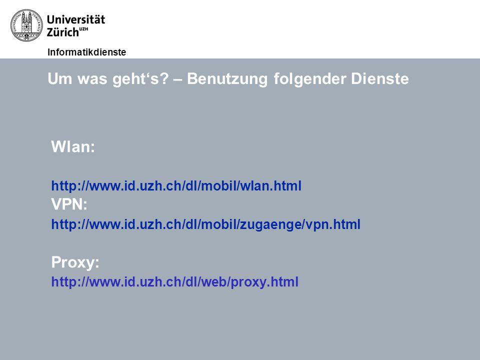 Informatikdienste 12. Okt. 2011Lunchveranstaltung Ablösung UniAccess, David MeierSeite 3 Um was geht's? – Benutzung folgender Dienste Wlan: http://www