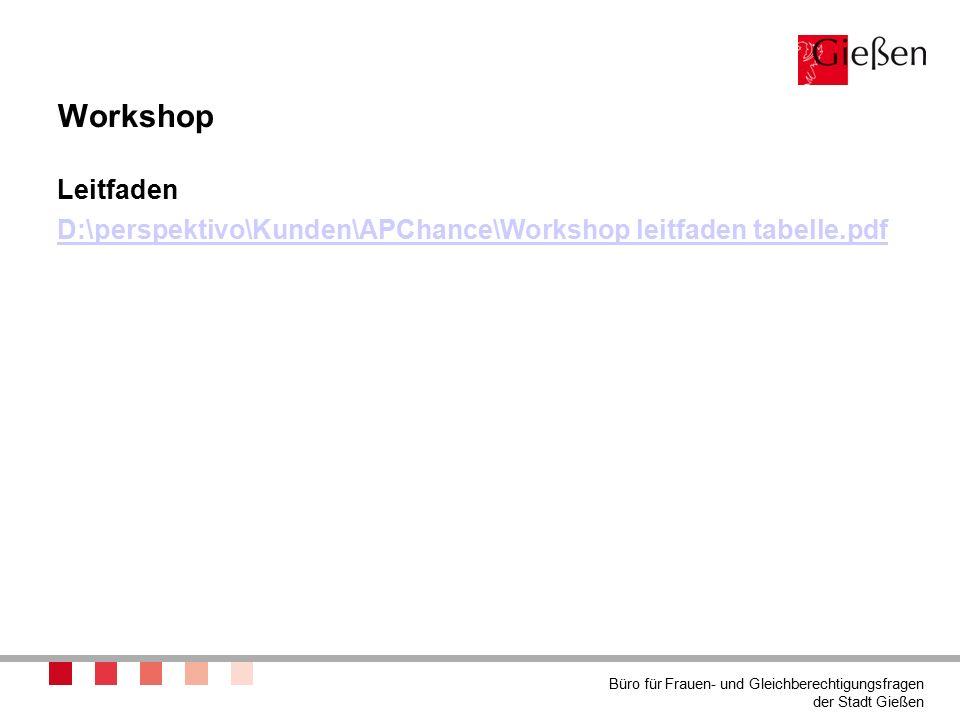 Workshop Leitfaden D:\perspektivo\Kunden\APChance\Workshop leitfaden tabelle.pdf Büro für Frauen- und Gleichberechtigungsfragen der Stadt Gießen