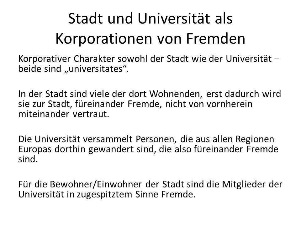 """Stadt und Universität als Korporationen von Fremden Korporativer Charakter sowohl der Stadt wie der Universität – beide sind """"universitates ."""