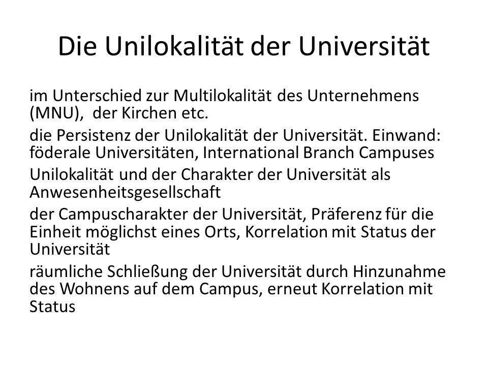 Die Unilokalität der Universität im Unterschied zur Multilokalität des Unternehmens (MNU), der Kirchen etc.