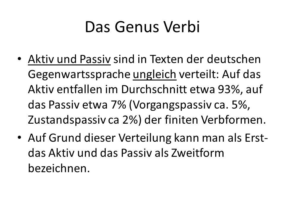 Das Genus Verbi Aktiv und Passiv sind in Texten der deutschen Gegenwartssprache ungleich verteilt: Auf das Aktiv entfallen im Durchschnitt etwa 93%, auf das Passiv etwa 7% (Vorgangspassiv ca.